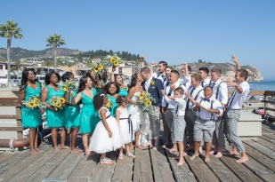 ventona grill-Pismo Beach-Avila Beach-California-Avila Beach Pier Wedding-Personalized Shot Glasses-Wedding Shot Glasses-Getting Ready-Wedding Dress-Sunflower Bouquet-toast-wedding cake-bobbie-pyle-photography-wedding-9