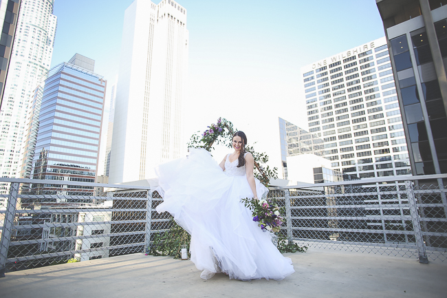 Wilshire Loft-Los Angeles California-city-city wedding-downtown wedding-skyscraper-skyline-view-purple-bouquet-the blushing details-wedding dress-destination wedding photographer-bobbie-pyle-photography-wedding-27